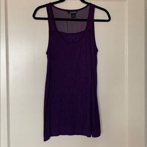 Purple tank top with sheer feature